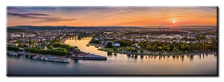 Koblenz Abendstimmung Panorama 1 - Leinwandbild