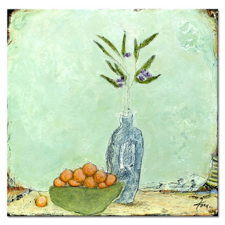 Karin Melé - Fruits et olives - Original handgemalte Mischtechnik