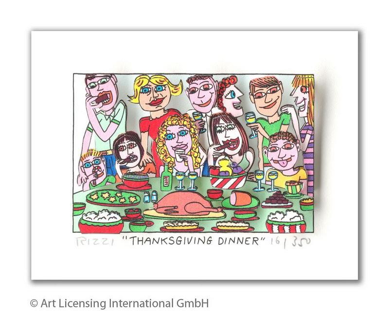 James Rizzi - Thanksgiving Dinner - Original 3D Bild drucksigniert - ohne Rahmen PP-Normale Nummer