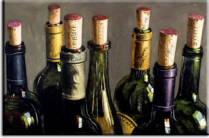 Modernes Leinwandbild - Stilleben Weinflaschen