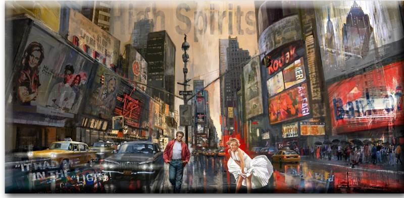 Original Leinwand-Mischtechnik - James Dean und Marilyn Monroe - High Spirits- von A. Baecker