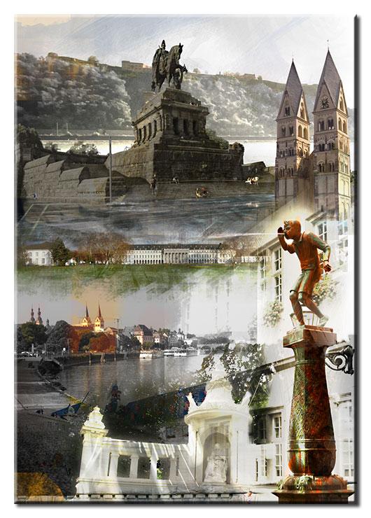 Koblenz Collage in Blau von A. Baecker Leinwandbild - Hochformat