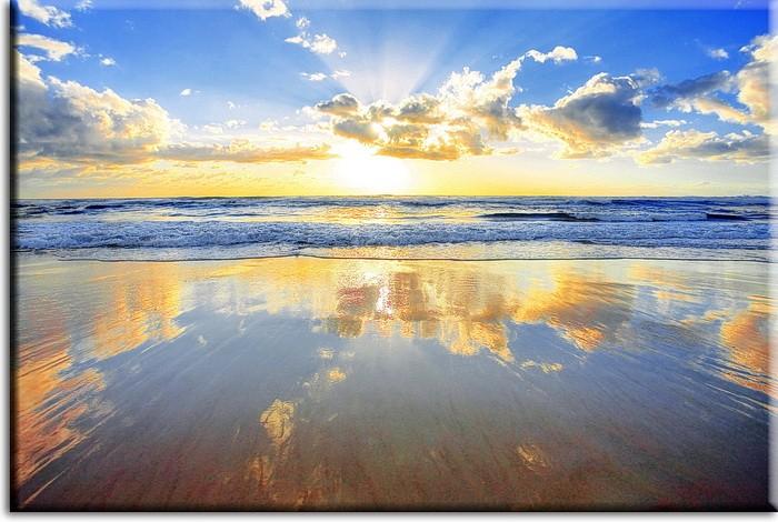 Meeresbild - Golden sunrise over the ocean. Stimmungsvolles Leinwandbild