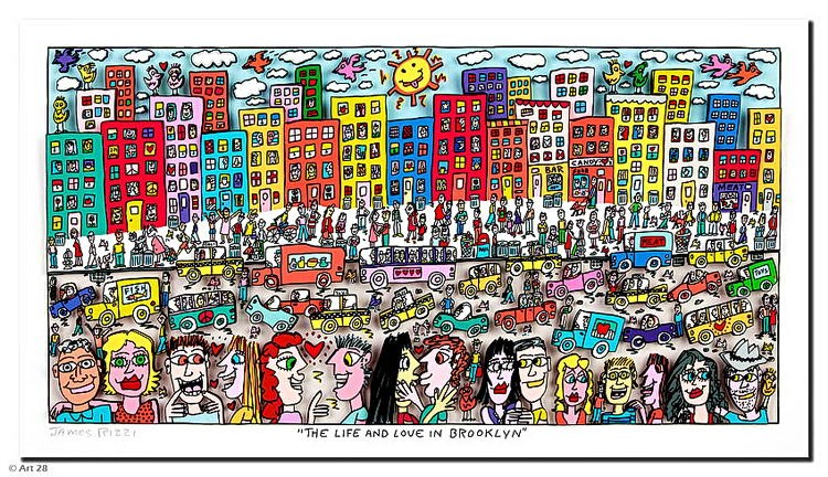 James Rizzi THE LIFE AND LOVE IN BROOKLYN. 3D Bild drucksigniert - ohne Rahmen PP-Normale Nummer